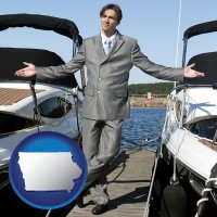 iowa map icon and a yacht dealer