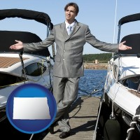 north-dakota map icon and a yacht dealer